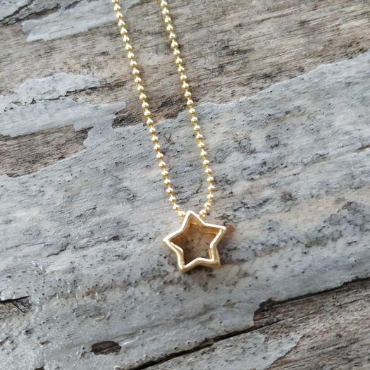 277b4b44a79f Collar Plata Baño Oro Silueta Estrella Minimalista - ARTESANAL