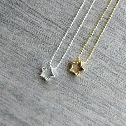a1b16433805c Collar Plata Diamantada y Oro Silueta Estrella - ARTESANAL