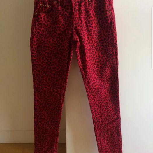 marcas reconocidas venta de bajo precio buena textura Pantalon pitillo leopardo rojo - SUITEBLANCO