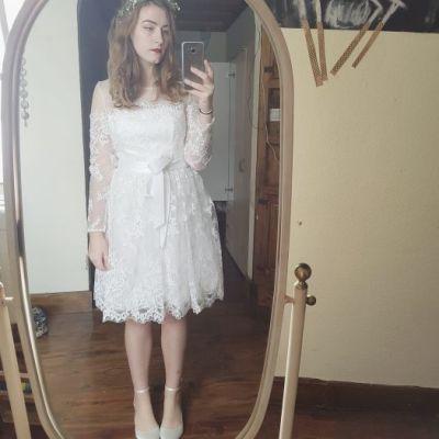 2536861b4b Atos nupcial de manga larga de encaje mini vestido